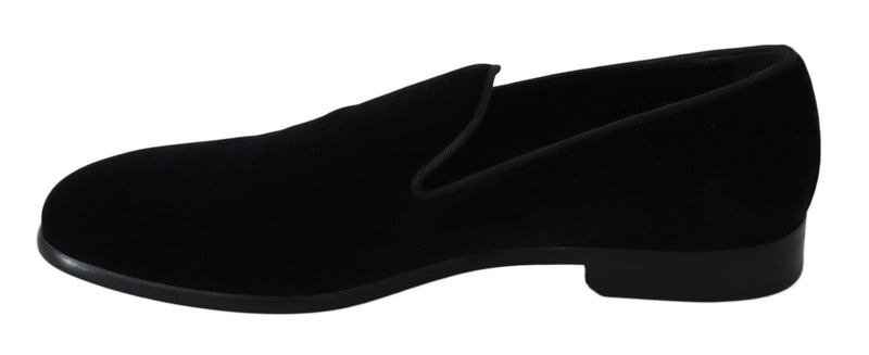 Black Velvet Flat Loafers Slip Ons Shoes