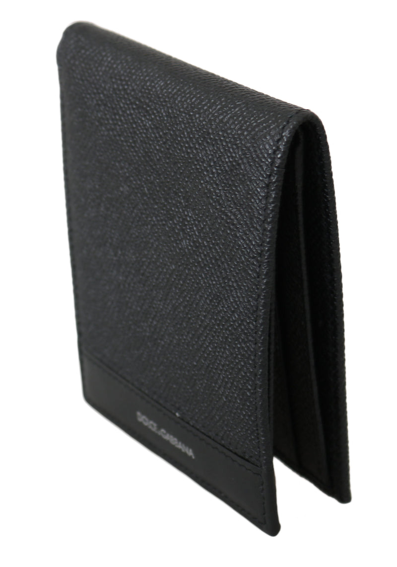 Black 100% Leather Bill Cardholder Bifold Men Wallet
