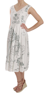 White Botanical Garden Sleeveless Dress