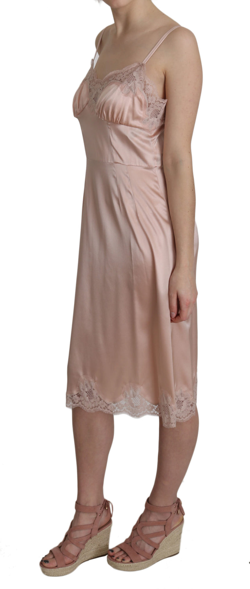 Peach Silk Stretch Sheath Lace Dress
