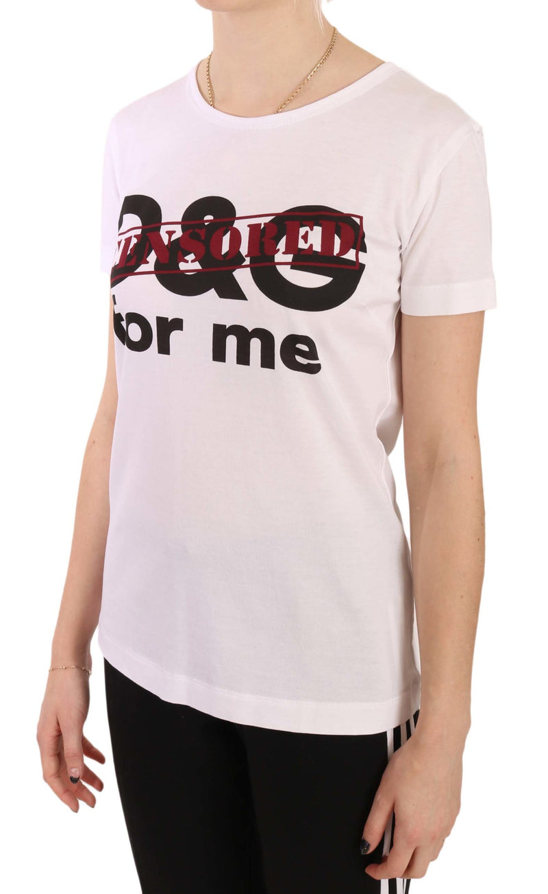 White D&G Censored Cotton T-shirt Topv