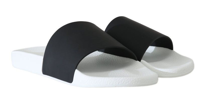 Black White Leather Slides Slippers