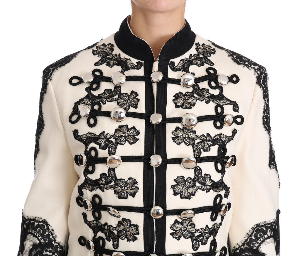White Wool Black Floral Baroque Jacket
