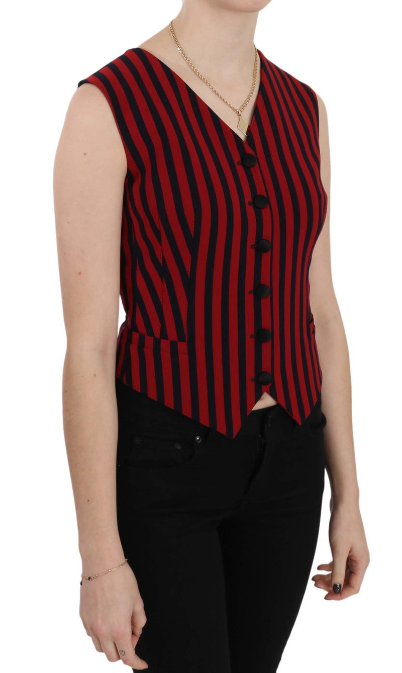 Red Black Stripe Waistcoat Blouse Top Vest