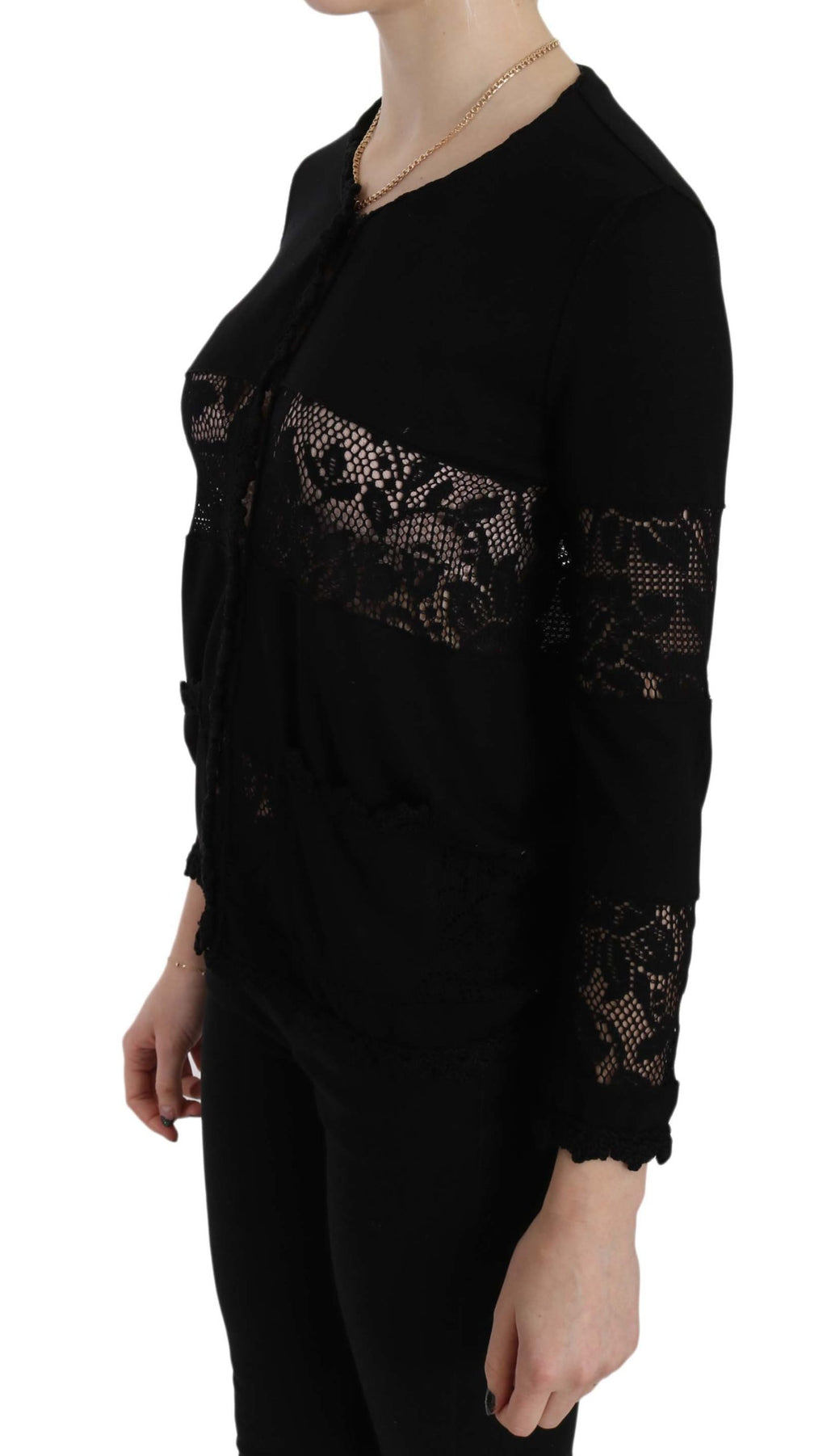 Black Lace Long Sleeve Cardigan Sweater