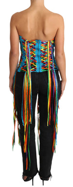 Multicolor Strings Bustier Polyester Corset  Top