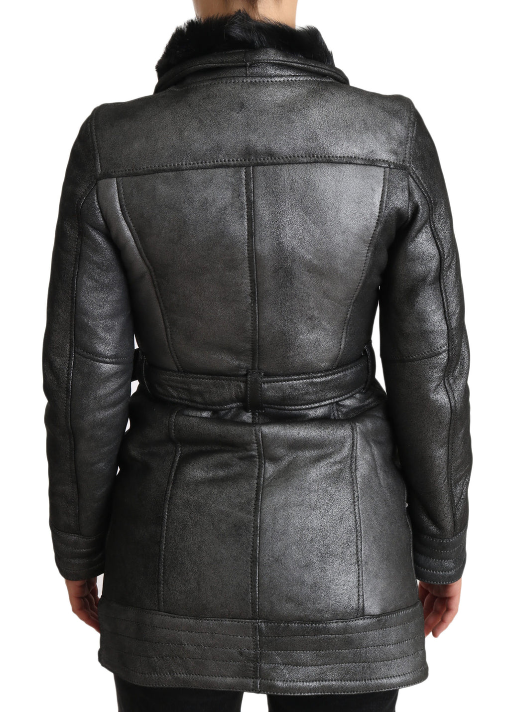 Gray Leather Montone Fur Shearling Coat Jacket