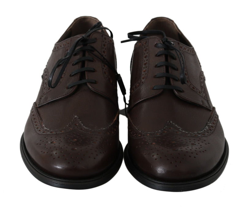 Brown Leather Brogue Derby Dress Shoes