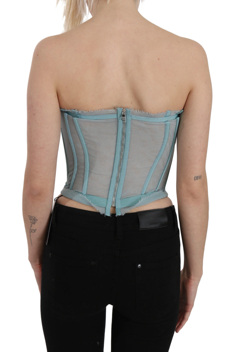 Blue Tulle Short Bustier Lace Top Blouse