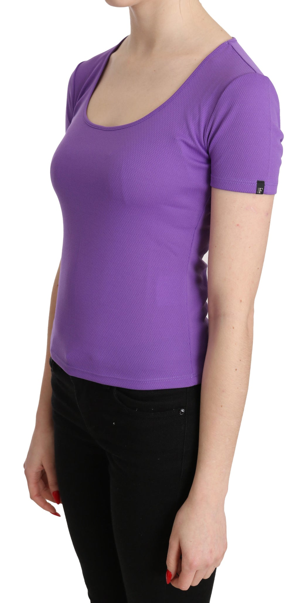Purple 100% Polyester Short Sleeve Top  Blouse