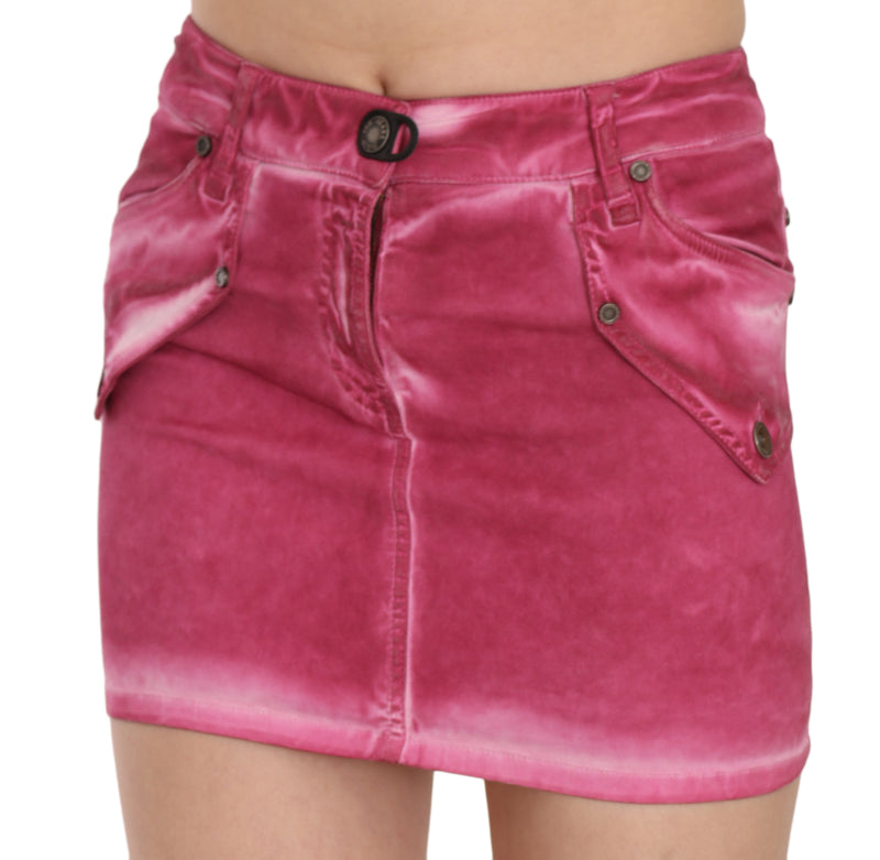 Pink Cotton Stretch Casual Mini Skirt