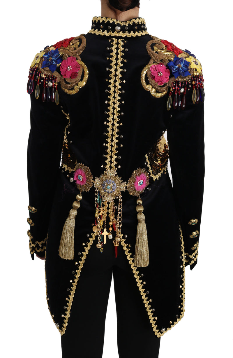 Black Velvet Crystal Sequined  Jacket
