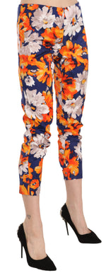 Blue Floral Print Skinny Slim Fit Trousers Pants