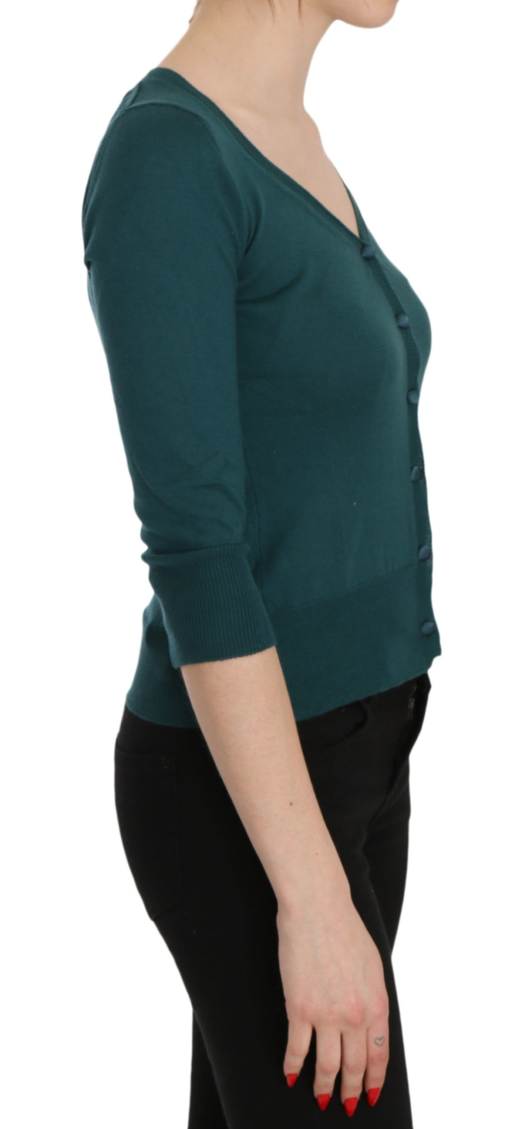 Blue Green Cotton 3/4 Sleeve Cardigan Top Blouse