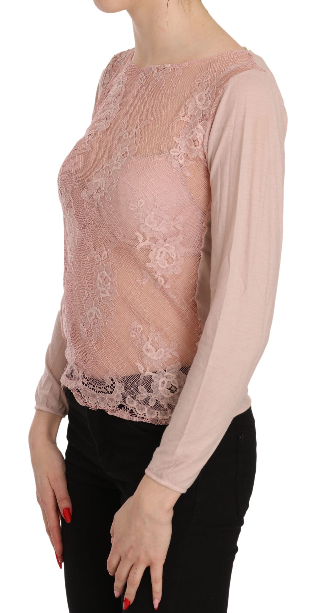 Pink Lace See Through Long Sleeve Top Blouse
