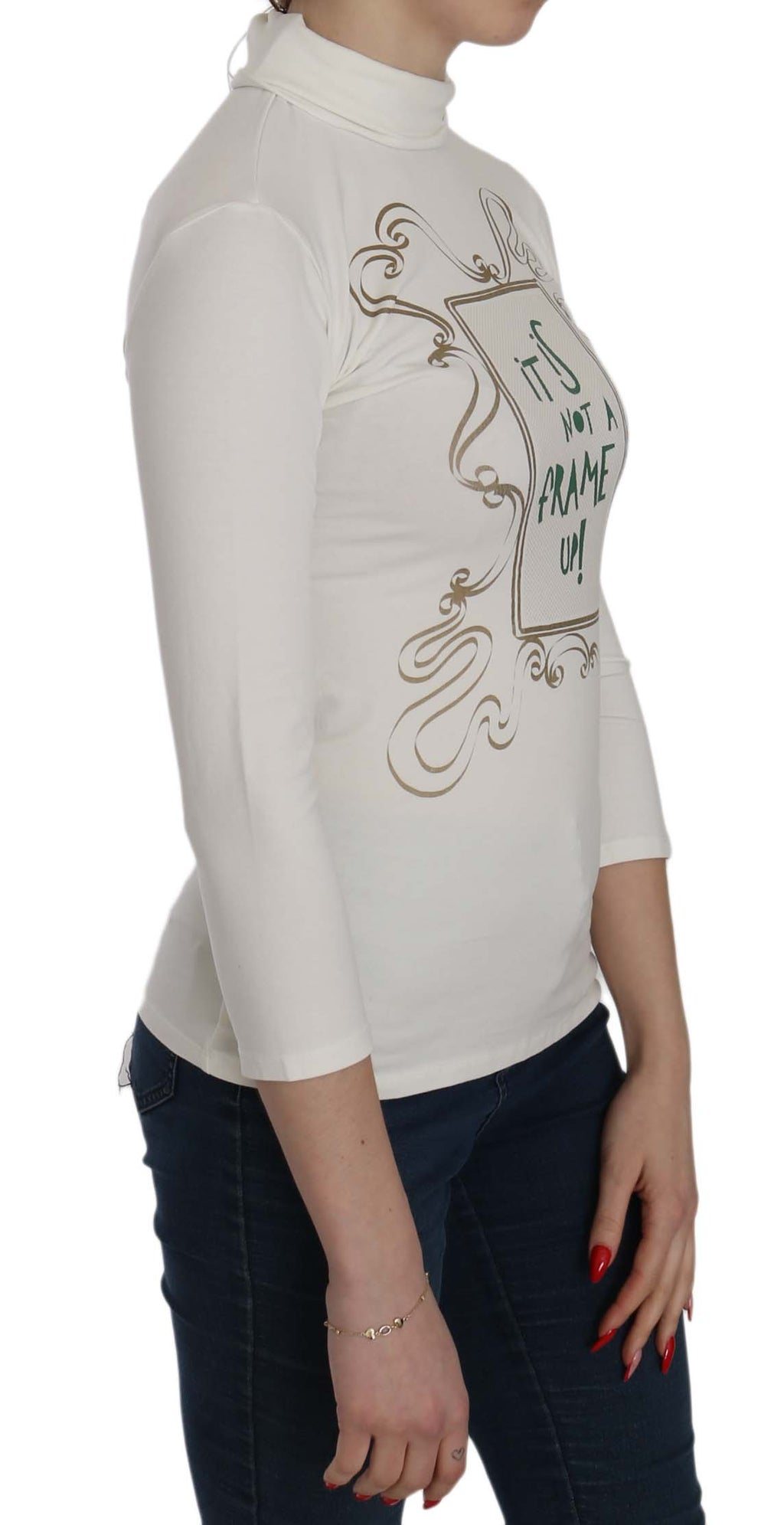 White Printed Turtle Neck 3/4 Sleeve Top Cotton Blouse