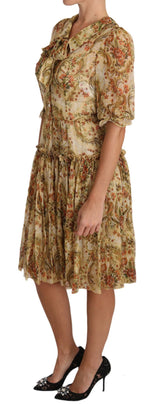 Beige Floral Silk Ruffle Ribbon Neckline Dress