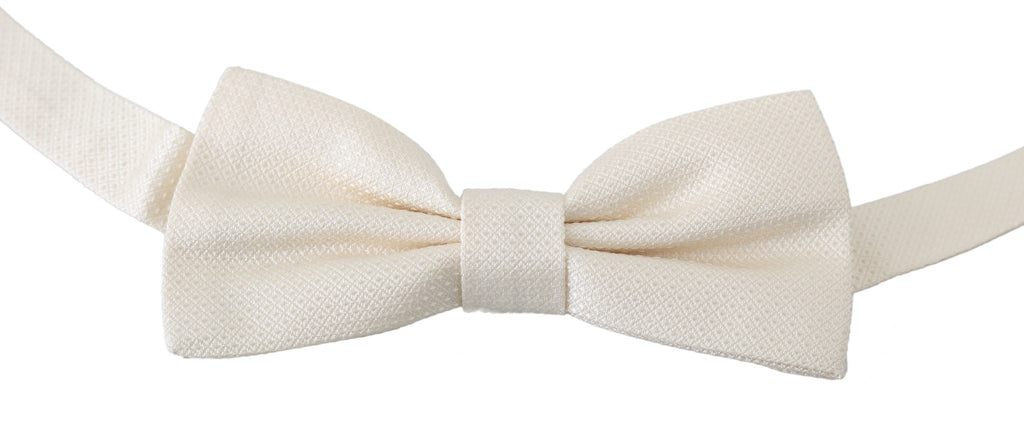 Beige Cream 100% Silk Adjustable Neck Butterfly Bow Tie