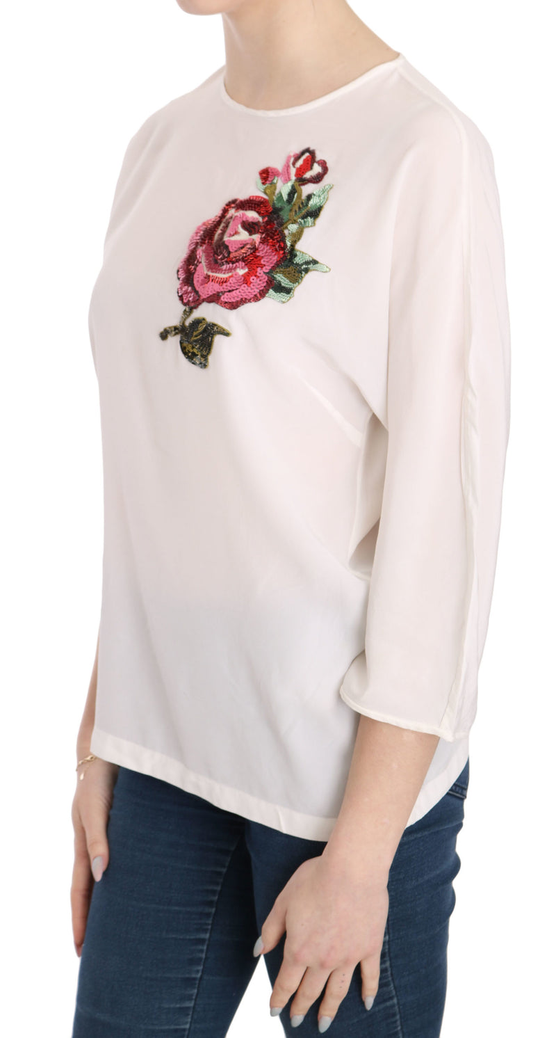 White Silk Sequined Floral Top Blouse