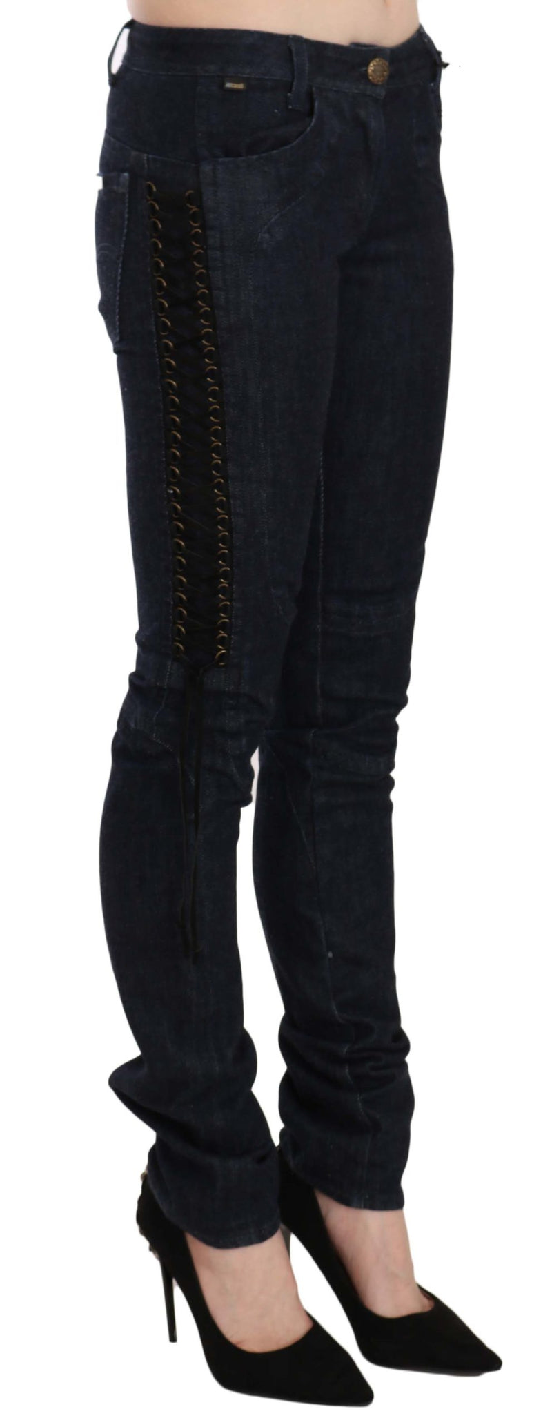 Black Low Waist Skinny Trousers Braided String Pants