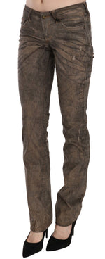 Brown Corduroy Low Waist Slim Fit Denim Pants Jeans