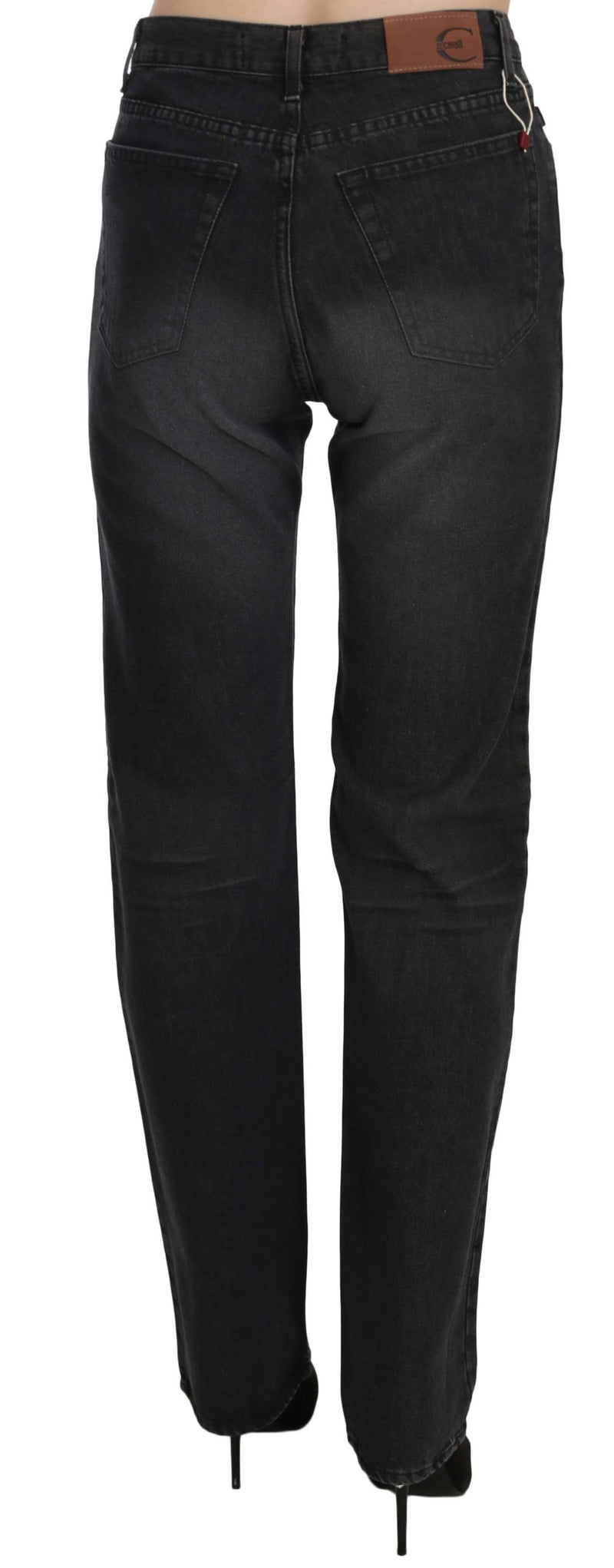 Black Washed High Waist Straight Denim Pants Jeans