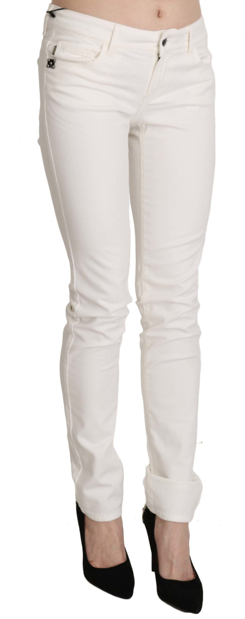 White Cotton Low Waist Skinny Denim Pants Jeans