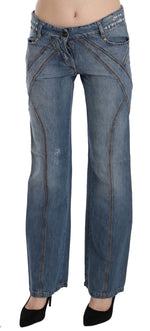 Blue Washed Low Waist Cotton Flared Denim Pants