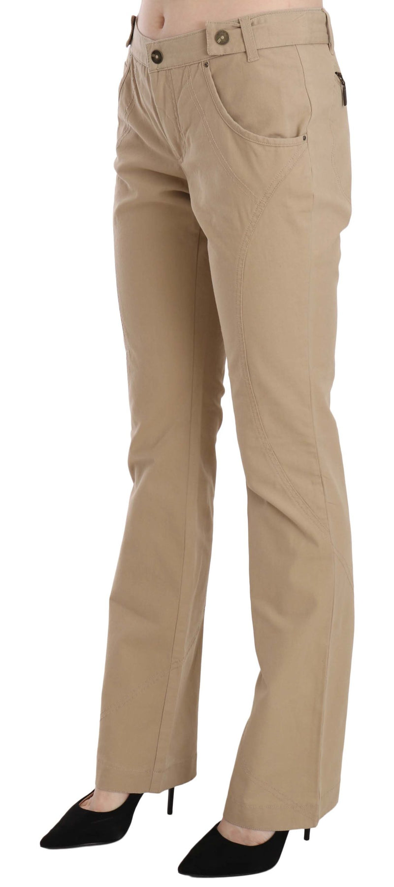 Beige Cotton Mid Waist Straight Trousers Pants