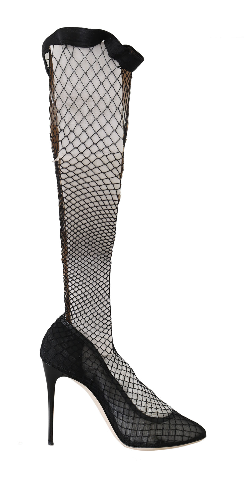 Black Netted Sock Heels Pumps