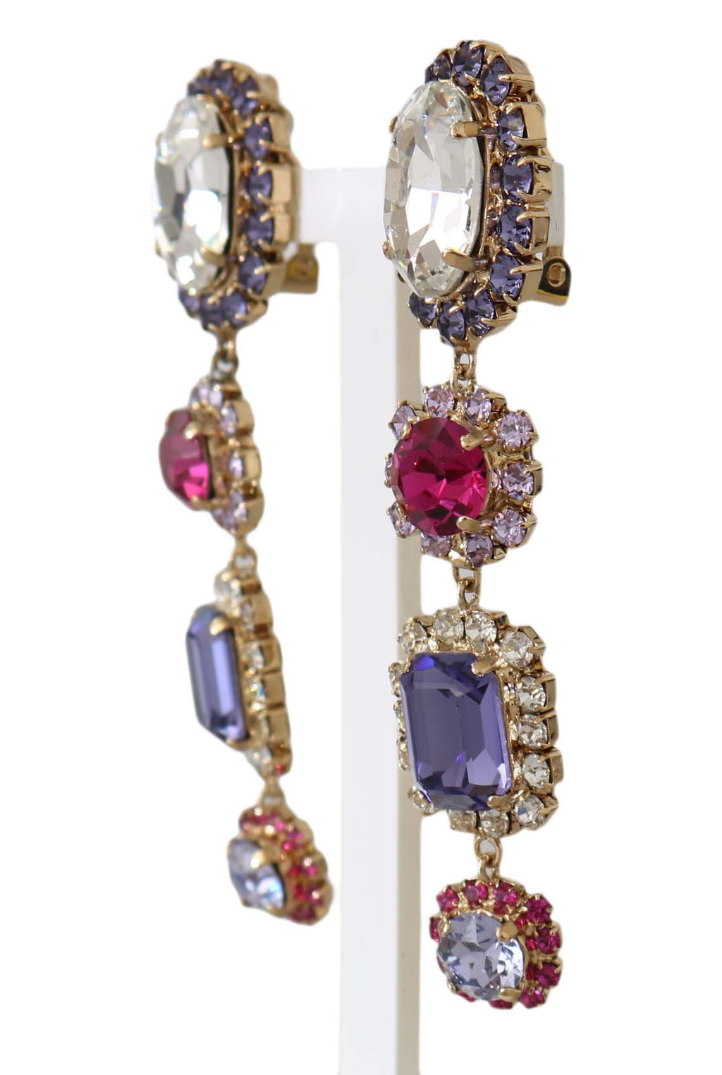 Gold Brass Multicolor Crystal Clip On Dangling Earrings