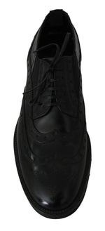 Black Leather Dress Derby Wingtip Shoes