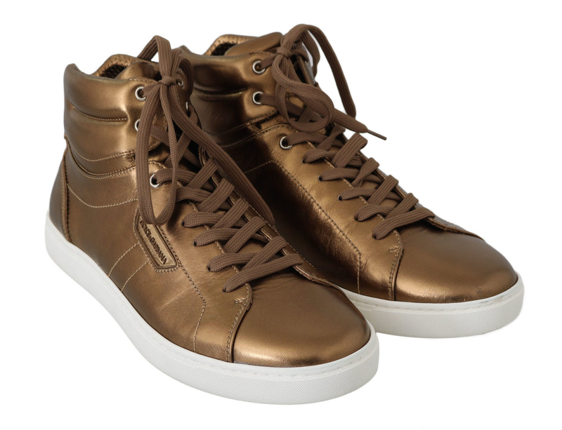 Gold Leather Mens High Top Sneakers
