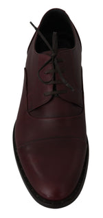 Red Bordeaux Leather Derby Formal Shoes