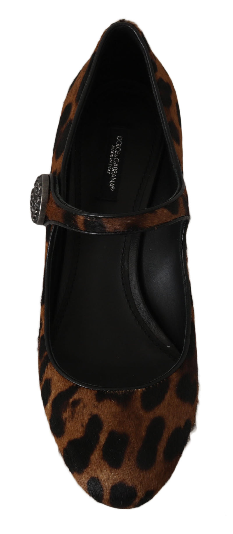 Brown Calf Hair Leather Mary Janes Shoes