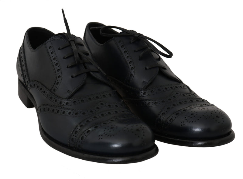 Dark Blue Leather Wingtip Oxford Dress Shoes