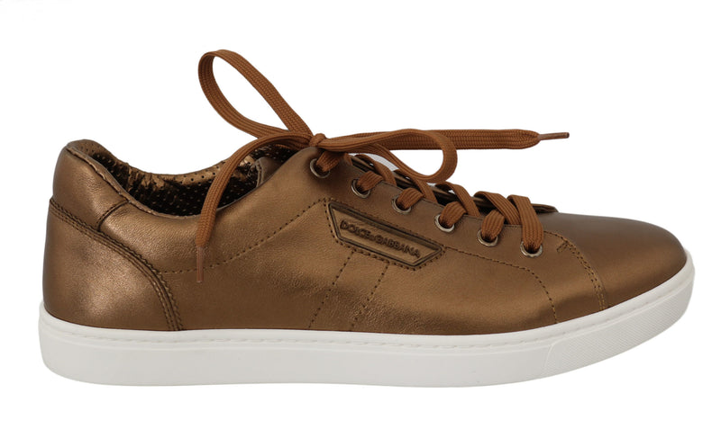 Gold Leather Mens Casual Sneakers
