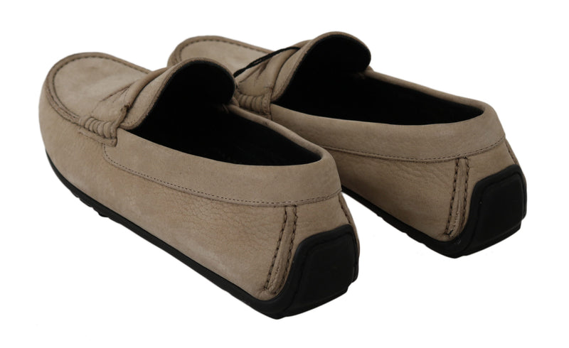 Beige Leather Flat Loafers Casual Mens Shoes