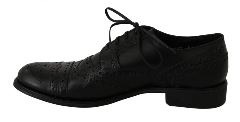 Black Leather Wingtip Oxford Dress Shoes