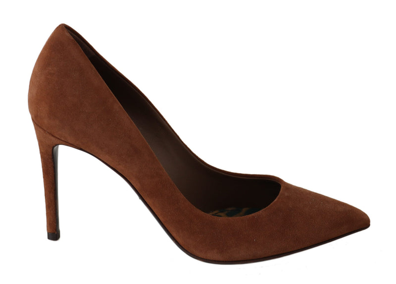 Brown Suede Leather Stiletto Shoes Heels