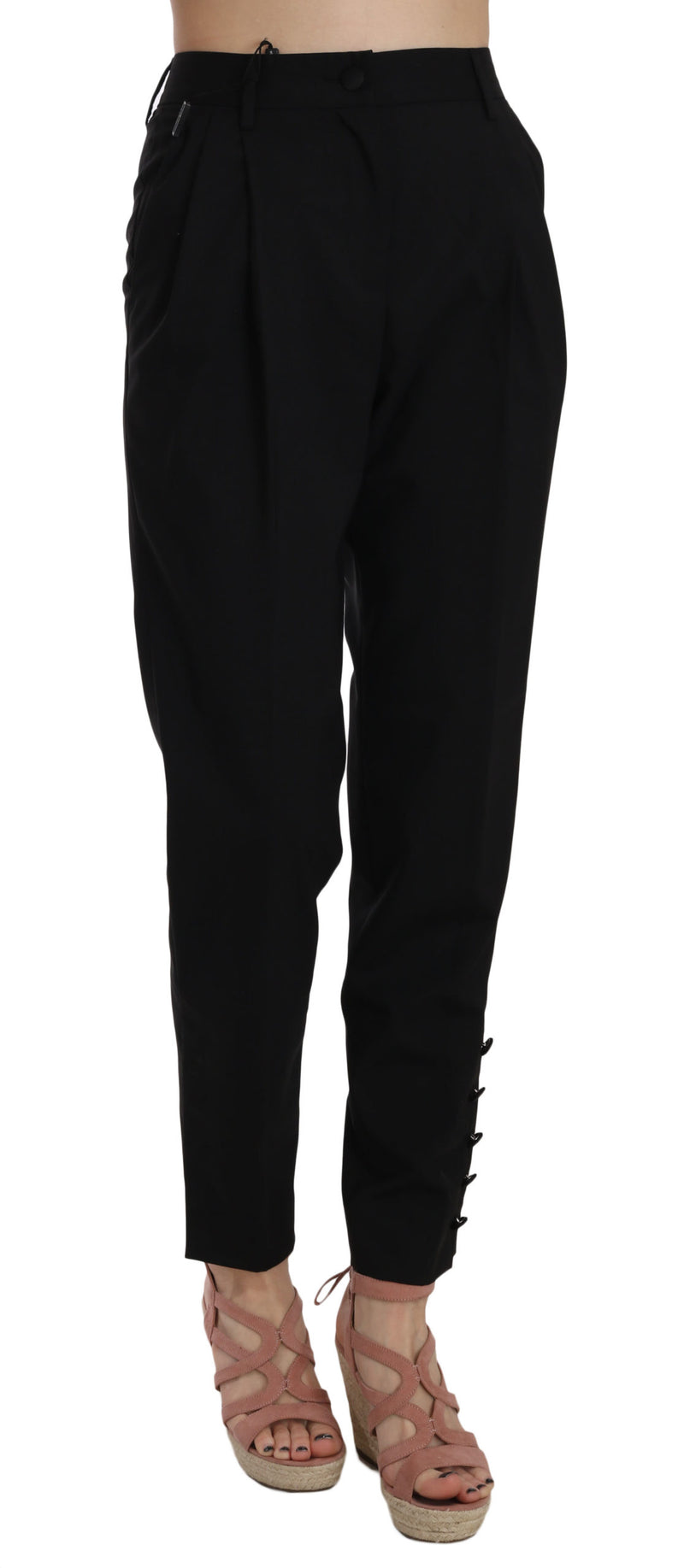 Black Button Pleated Tapered Trouser Pants