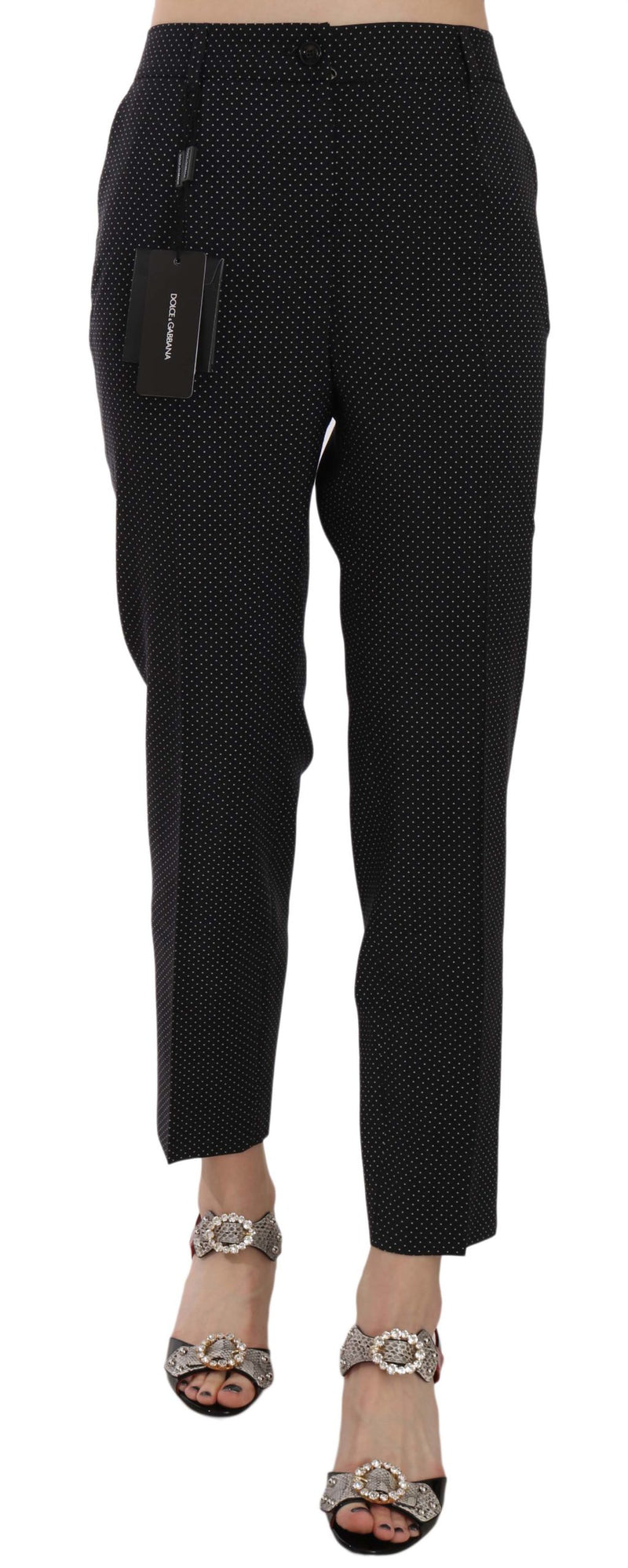 Polka Dot Print Wool Tapered Trouser