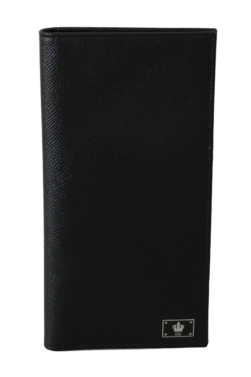 Black Dauphine Leather Card Bifold Passport Wallet