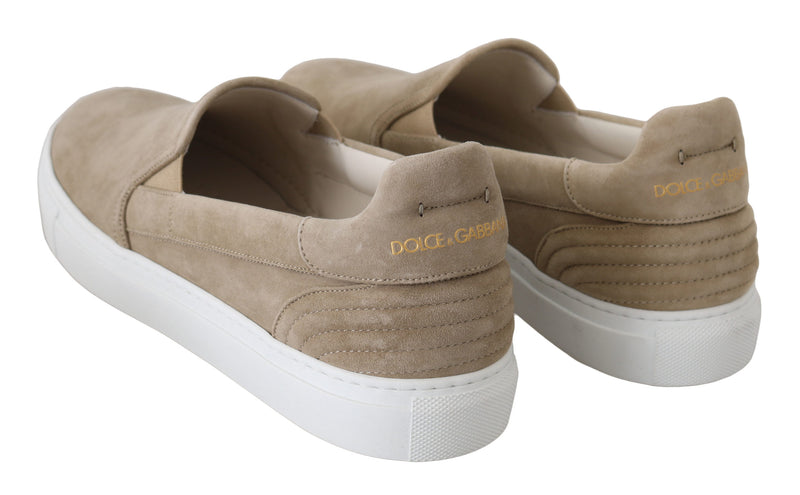 Beige Leather Suede Loafers Slip-Ons Shoes