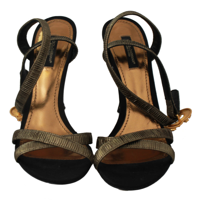 Gray Crystal Gold Heart Sandals Shoes