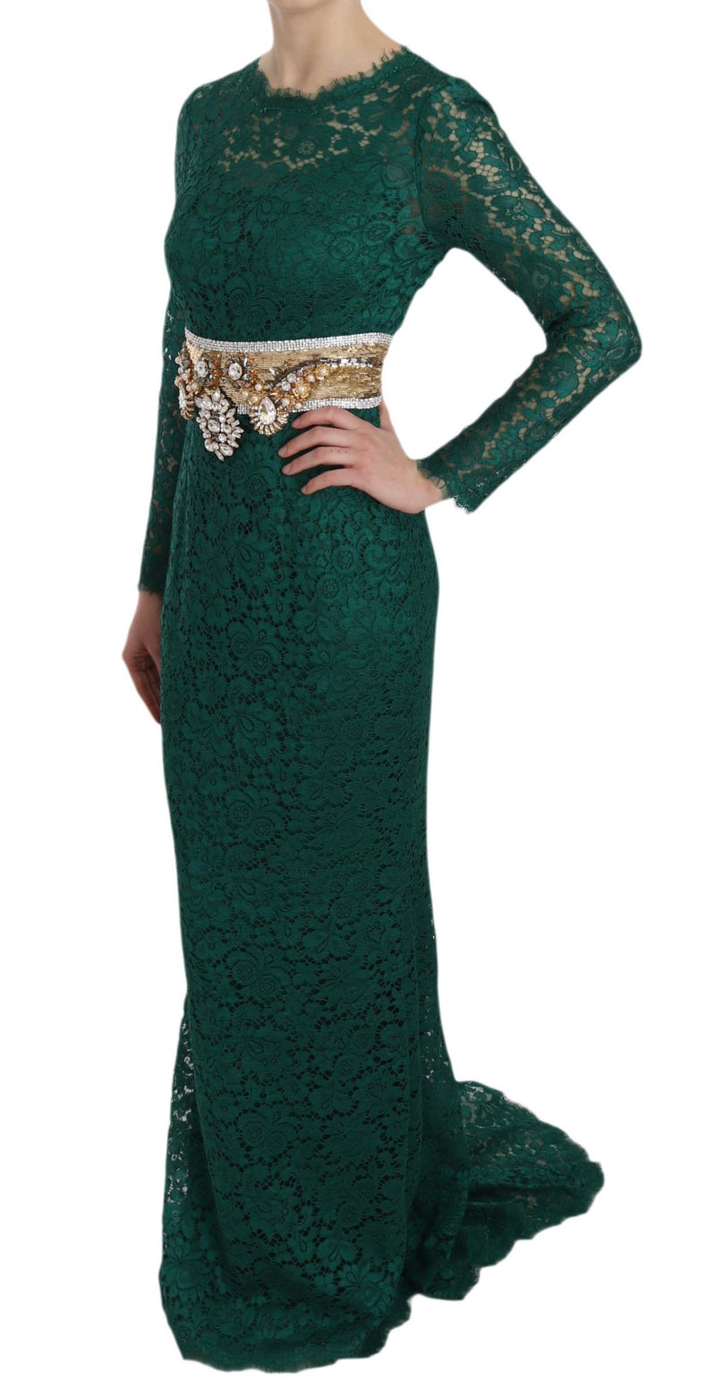 Crystal Gold Belt Lace Sheath Gown Dress