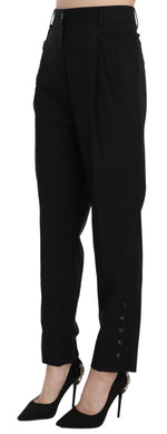Black Wool Stretch High Waist Pleated Pants