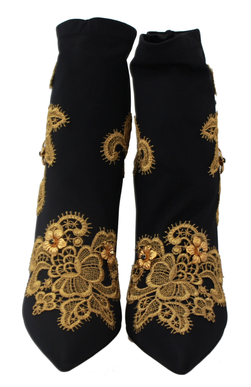 Black Stretch Gold Lace Ankle Boots