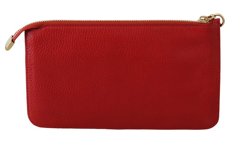 Red Leather Zipper Leopard Print Inner Wallet