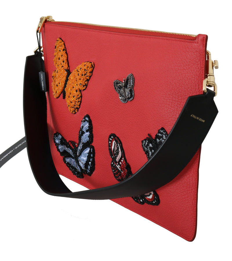 Red Butterflies Patch Leather Hand Shoulder Bag